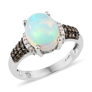Ethiopian Welo Opal, Natural Champagne Diamond, Diamond Platinum Over Sterling Silver Ring (Size 9.0) TDiaWt 0.36 cts, TGW 2.81 cts.