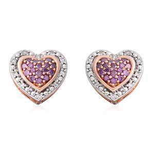 10K RG Purple Diamond (IR), Diamond Heart Stud Earrings TDiaWt 0.33 cts, TGW 0.33 cts.