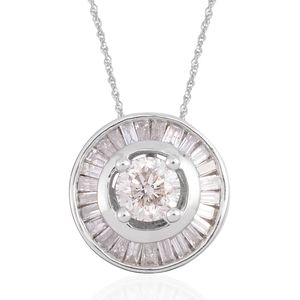 10K WG Diamond (H I1) Pendant With Chain (18 in) TDiaWt 0.75 cts, TGW 0.75 cts.