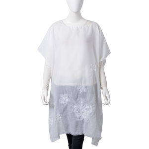 White 100% Polyester Floral Embroidered Poncho (One Size)