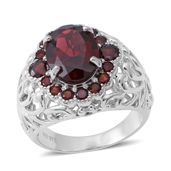 Mozambique Garnet Sterling Silver Ring (Size 10.0) TGW 9.05 cts.