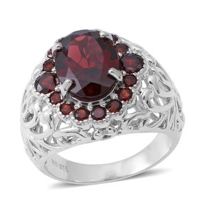 Mozambique Garnet Sterling Silver Openwork Ring (Size 6.0) TGW 9.05 cts.
