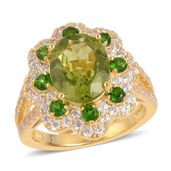 Hebei Peridot, Russian Diopside, White Zircon 14K YG Over Sterling Silver Flower Split Ring (Size 7.0) TGW 4.35 cts.