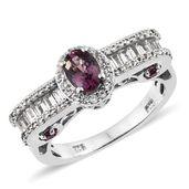 Burmese Lavender Spinel, White Topaz, Purple Garnet Platinum Over Sterling Silver Royal Ring (Size 6.0) TGW 1.97 cts.