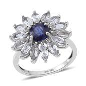 Masoala Sapphire, White Topaz Sterling Silver Floral Ring (Size 7.0) TGW 6.20 cts.