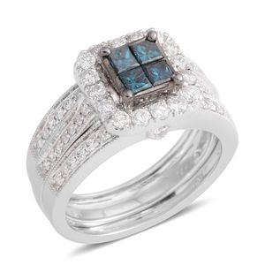 14K WG Blue Diamond (IR), Diamond (H I1) Ring (Size 7.0) TDiaWt 1.50 cts, TGW 1.50 cts.