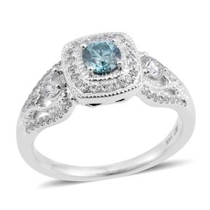 14K WG Blue Diamond (IR), Diamond (H I2) Ring (Size 7.0) TDiaWt 0.75 cts, TGW 0.75 cts.