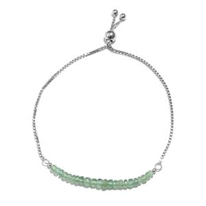 Green Kyanite Platinum Over Sterling Silver Bolo Bracelet (Adjustable) ts. (7.50 In) TGW 12.00 cts.