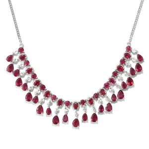 Niassa Ruby, White Topaz Platinum Over Sterling Silver Fringe Drop Necklace (18-20 in) TGW 28.91 cts.