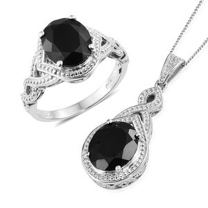 Thai Black Spinel Platinum Over Sterling Silver Ring (Size 7) and Pendant With Chain (20 in) TGW 11.10 cts.