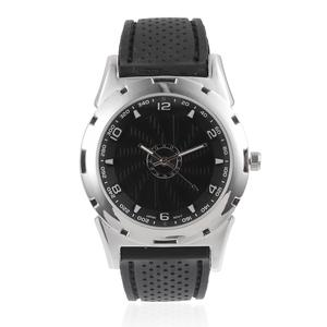 STRADA Japanese Movement Water Resistant Watch with Black Silicone Band & Stainless Steel Back