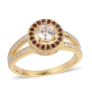 Simulated White and Red Diamond 14K YG Over Sterling Silver Halo Ring (Size 7.0) TGW 1.70 cts.