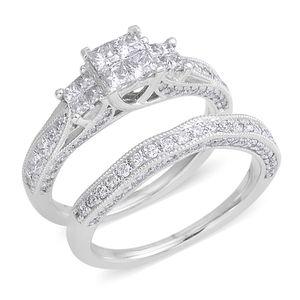 10K WG Diamond (H I1) Ring Set (Size 7.0) TDiaWt 1.50 cts, TGW 1.50 cts.