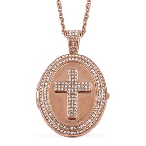 White Austrian Crystal ION Plated RG Stainless Steel Pendant With Chain (20 in) TGW 1.89 cts.