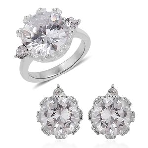 Simulated Diamond, Austrian Crystal Stainless Steel Earrings and Ring (Size 7) TGW 4.60 cts.