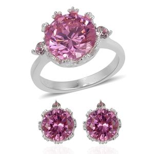 Simulated Pink Sapphire, Austrian Crystal Stainless Steel Earrings and Ring (Size 8) TGW 4.60 cts.