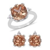Simulated Imperial Topaz, Austrian Crystal Stainless Steel Earrings and Ring (Size 9) TGW 4.60 cts.