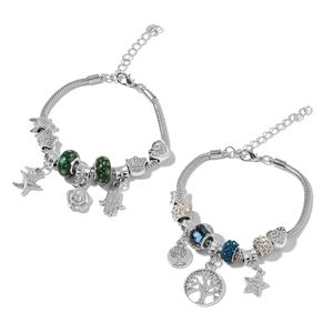 Set of 2 Chroma, White and Blue Austrian Crystal Black Oxidized Iron Charm Bracelet (7.50 In)