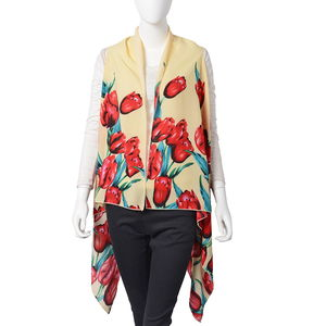 Yellow Tulip Pattern 100% Polyester Sleeveless Kimono (35.44x55.12 in)