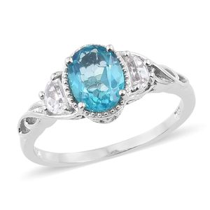 Paraiba Topaz, White Topaz Platinum Over Sterling Silver Ring (Size 5.0) TGW 2.95 cts.
