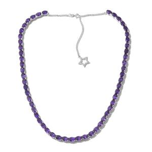 Lusaka Amethyst, Cambodian Zircon Platinum Over Sterling Silver Star Drop Charm Necklace (18 in) TGW 40.38 cts.
