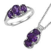 Lusaka Amethyst Platinum Bond Brass Ring (Size 7) and Pendant With Stainless Steel Chain (20 in) TGW 4.04 cts.
