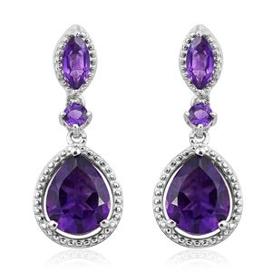Lusaka Amethyst Platinum Over Sterling Silver Earrings TGW 4.94 cts.