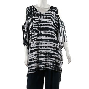 White and Black Cold Shoulder Cover up Rayon Poncho (One Size)