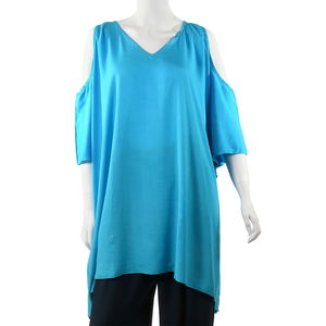 Sky Blue Cold Shoulder Cover up Rayon Poncho (One Size)