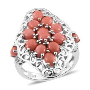 Oregon Peach Opal, Cambodian Zircon Platinum Over Sterling Silver Ring (Size 5.0) TGW 3.80 cts.