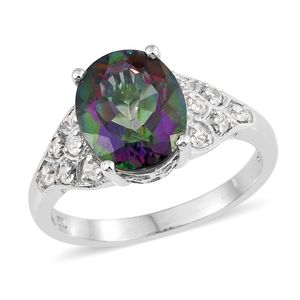 Northern Lights Mystic Topaz, Cambodian Zircon Platinum Over Sterling Silver Ring (Size 7.0) TGW 6.35 cts.