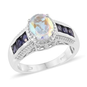 Mercury Mystic Topaz, Catalina Iolite Platinum Over Sterling Silver Ring (Size 7.0) TGW 4.19 cts.