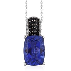 Playa Quartz, Multi Gemstone Platinum Over Sterling Silver Pendant With Chain (20 in) TGW 7.51 cts.