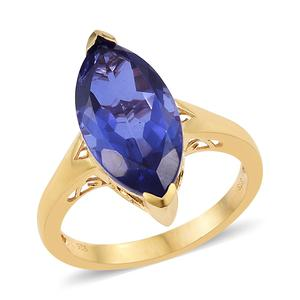 Playa Quartz Vermeil YG Over Sterling Silver Marquise Solitaire Ring (Size 7.0) TGW 8.30 cts.