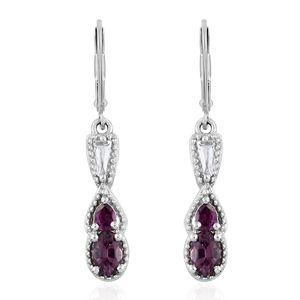 Burmese Lavender Spinel, White Topaz, Purple Garnet Platinum Over Sterling Silver Lever Back Earrings TGW 1.58 cts.