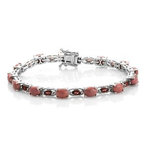 Oregon Peach Opal, Mozambique Garnet Platinum Over Sterling Silver Bracelet (7.25 In) TGW 9.49 cts.