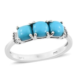 Arizona Sleeping Beauty Turquoise, Diamond Platinum Over Sterling Silver Ring (Size 5.0) TDiaWt 0.05 cts, TGW 1.55 cts.