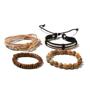 Set of 4 Picture Jasper, Wooden Goldtone Men's Bracelets with Faux Leather Cord TGW 133.50 cts.