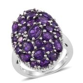 Lusaka Amethyst, White Topaz Platinum Over Sterling Silver Cluster Cocktail Ring (Size 6.0) TGW 7.20 cts.