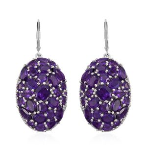 Lusaka Amethyst, White Topaz Platinum Over Sterling Silver Cocktail Earrings TGW 14.23 cts.