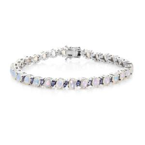 Customer Appreciation Day Ethiopian Welo Opal, Tanzanite Platinum Over Sterling Silver Bracelet (8.00 In) TGW 11.40 cts.
