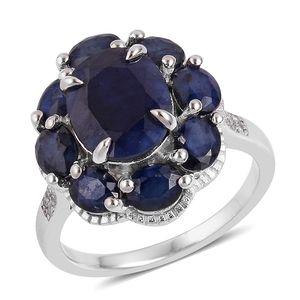 Masoala Sapphire, White Topaz Sterling Silver Daisy Flower Ring (Size 10.0) TGW 7.65 cts.