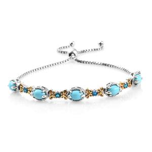 Customer Appreciation Day Arizona Sleeping Beauty Turquoise, Malgache Neon Apatite 14K YG and Platinum Over Sterling Silver Bolo Bracelet (Adjustable) TGW 3.50 cts.