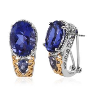 Playa Quartz, Catalina Iolite 14K YG and Platinum Over Sterling Silver Omega Clip  Earrings TGW 13.30 cts.