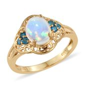 Ethiopian Welo Opal, Malgache Neon Apatite Vermeil YG Over Sterling Silver Ring (Size 10.0) TGW 1.90 cts.