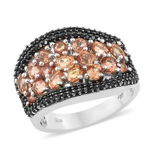 Orange Sapphire, Thai Black Spinel Black Rhodium & Platinum Over Sterling Silver Ring (Size 7.0) TGW 4.30 cts.