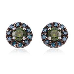 14K WG Green and Blue Diamond (IR) Stud Earrings TDiaWt 0.75 cts, TGW 0.75 cts.