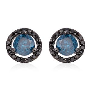 14K WG & Black Rhodium Blue and Black Diamond (IR) Stud Earrings TDiaWt 1.00 cts, TGW 1.00 cts.