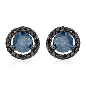 14K WG & Black Rhodium Blue and Black Diamond (IR) Stud Earrings TDiaWt 1.00 cts, TGW 1.00 cts.