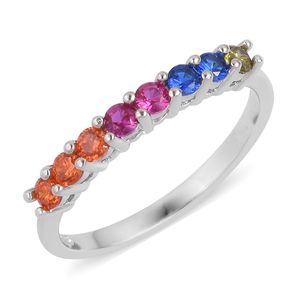 Simulated Multi Gems Sterling Silver Half Eternity Ring (Size 7.0) TGW 0.65 cts.